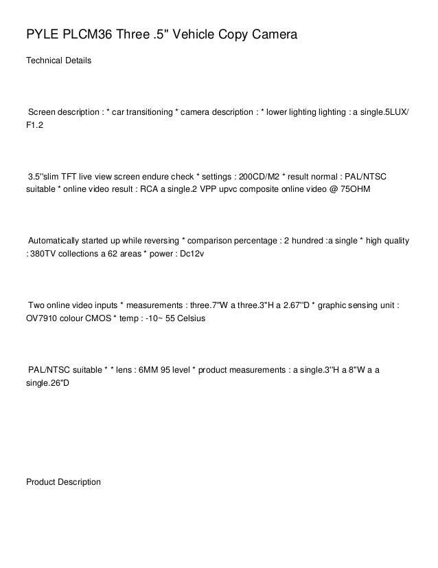 PYLE PLCM36 Three .5 Vehicle Copy CameraTechnical DetailsScreen description : * car transitioning * camera description : *...