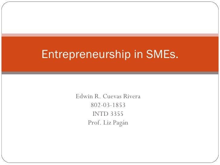 Edwin R. Cuevas Rivera 802-03-1853 INTD 3355 Prof. Liz Pagán Entrepreneurship in SMEs.
