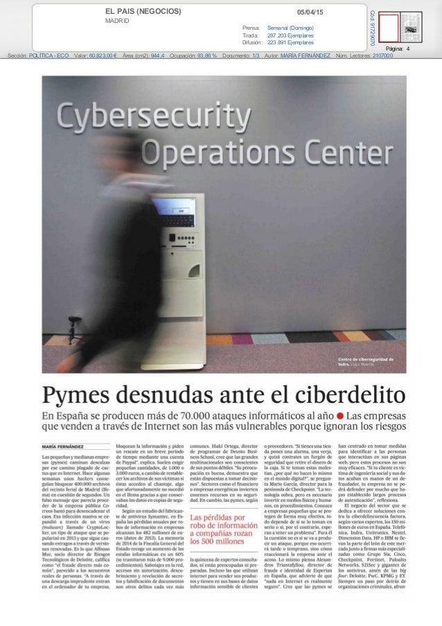 05/04/15EL PAIS (NEGOCIOS) MADRID Prensa: Semanal (Domingo) Tirada: 287.203 Ejemplares Difusión: 223.891 Ejemplares Página...
