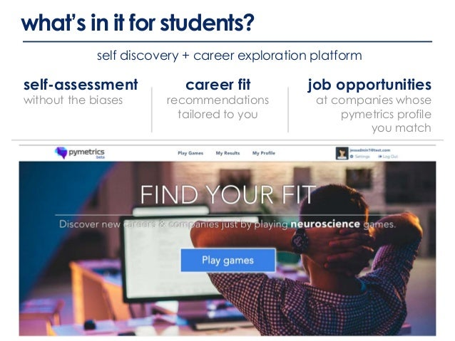 what's in it for students? self-assessment without the biases career fit recommendations tailored to you job opportunities...