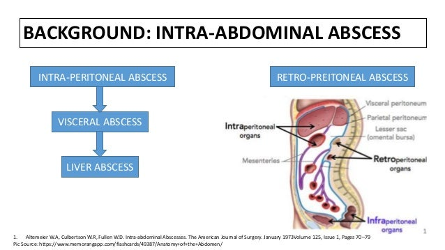 BACKGROUND: INTRA-ABDOMINAL ABSCESS INTRA-PERITONEAL ABSCESS LIVER ABSCESS VISCERAL ABSCESS RETRO-PREITONEAL ABSCESS 1. Al...