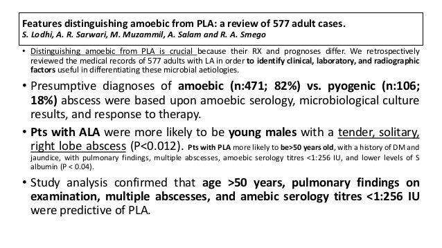 Features distinguishing amoebic from PLA: a review of 577 adult cases. S. Lodhi, A. R. Sarwari, M. Muzammil, A. Salam and ...