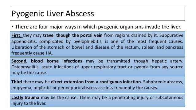 Pyogenic Liver Abscess • There are four major ways in which pyogenic organisms invade the liver. First, they may travel th...