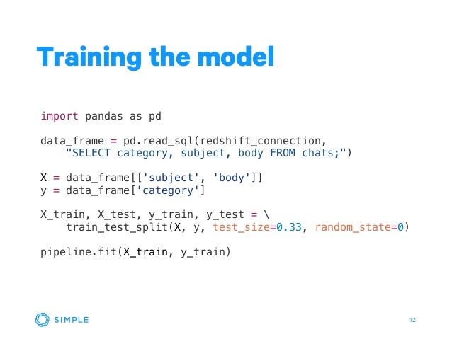 """12 Training the model import pandas as pd data_frame = pd.read_sql(redshift_connection, """"SELECT category, subject, body FR..."""