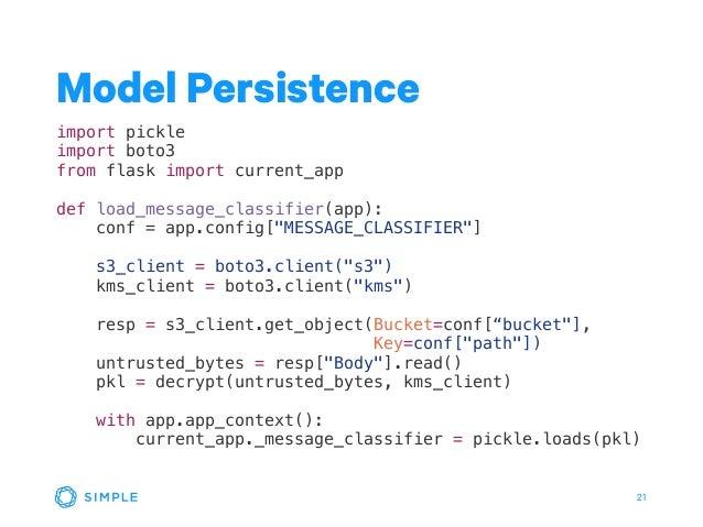 21 Model Persistence import pickle import boto3 from flask import current_app def load_message_classifier(app): conf = app...