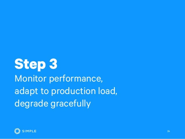 Step 3 Monitor performance, adapt to production load, degrade gracefully 24