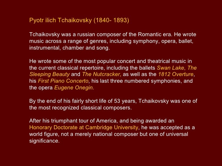 pyotr ilyich tchaikovsky essay Tchaikovsky on depression and finding beauty amid the wreckage of the soul  the great russian composer pyotr ilyich tchaikovsky  from the thousands of essays.
