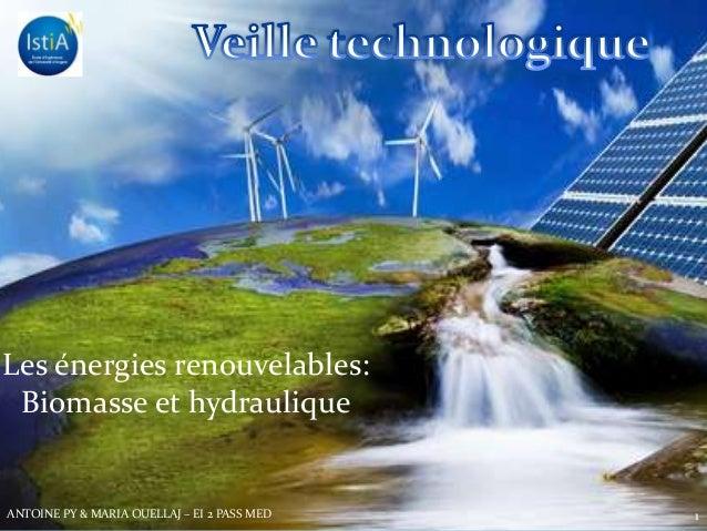 Les energies renouvelablesLes énergies renouvelables:Biomasse et hydraulique1ANTOINE PY & MARIA OUELLAJ – EI 2 PASS MED