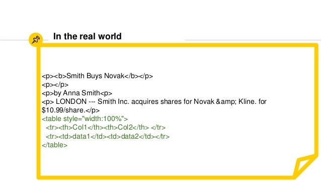 In the real world <p><b>Smith Buys Novak</b></p> <p></p> <p>by Anna Smith<p> <p> LONDON --- Smith Inc. acquires shares for...