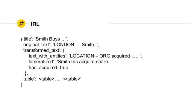 IRL {'title': 'Smith Buys …', 'original_text': 'LONDON --- Smith..', 'transformed_text': { 'text_with_entities': 'LOCATION...