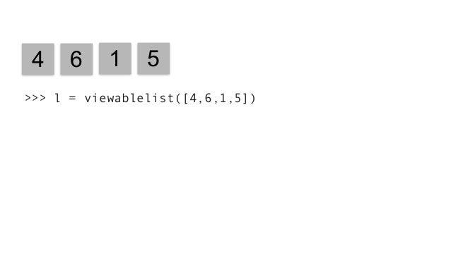 """4 6 1 5 4 6 1 5 3 Insert """"3"""" >>> l = viewablelist([4,6,1,5]) >>> add = lambda x, y: x + y >>> l.reduce(add, initializer=0)..."""
