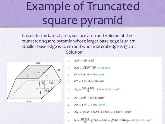 Pyramid 12 example of truncated square pyramid calculate ccuart Choice Image