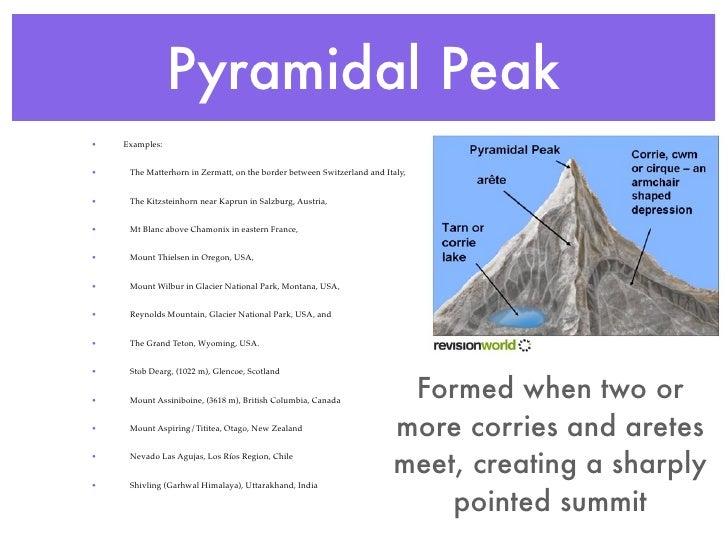Pyramidal Peak•   Examples:•    The Matterhorn in Zermatt, on the border between Switzerland and Italy,•    The Kitzsteinh...