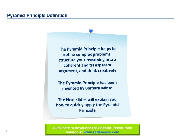 6 www.slidebooks.com6 Pyramid Principle Definition Click here to download the editable PowerPoint version at www.slidebook...