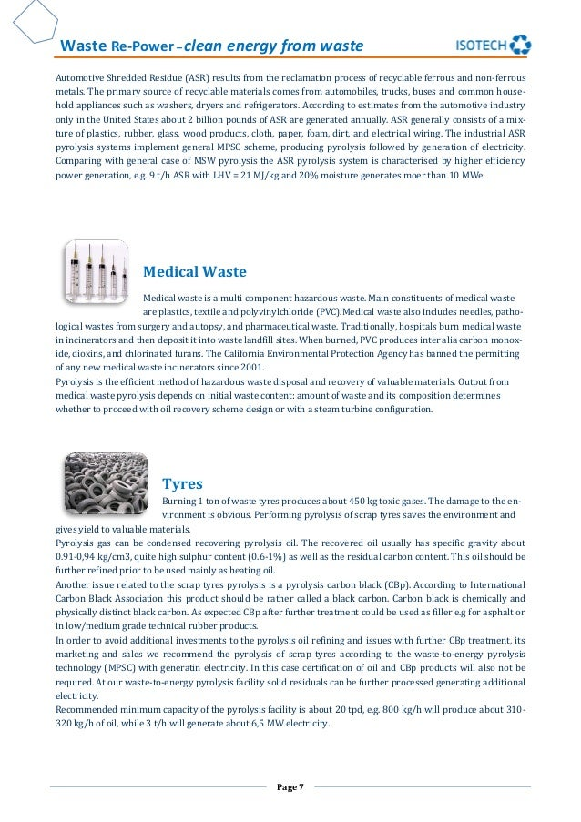 Waste Re-Power – clean energy from waste Page 7 Automotive Shredded Residue (ASR) results from the reclamation process of ...