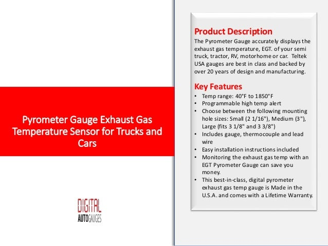 Pyrometer Gauge Exhaust Gas Temperature Sensor for Trucks