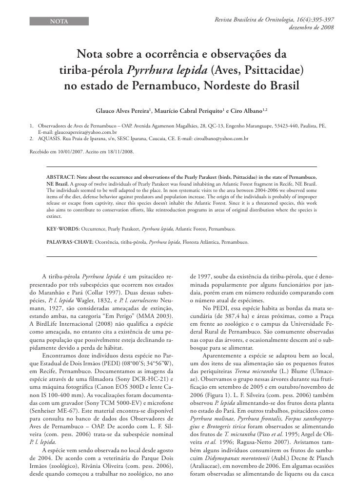 NotA                                                                             Revista Brasileira de Ornitologia, 16(4):...