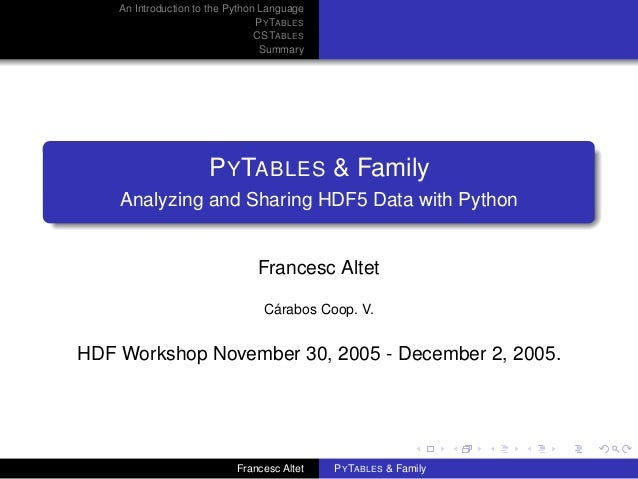 An Introduction to the Python Language P Y TABLES CSTABLES Summary  P Y TABLES & Family Analyzing and Sharing HDF5 Data wi...