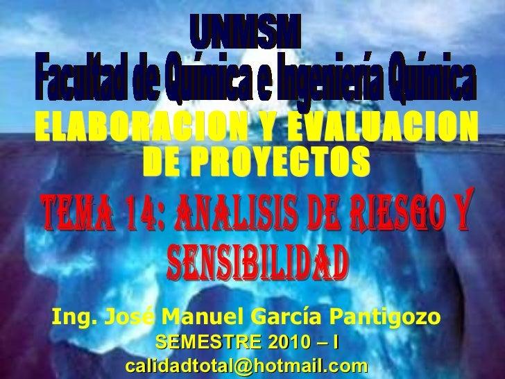 Ing. José Manuel García Pantigozo SEMESTRE 2010 – I [email_address] ELABORACION Y EVALUACION  DE PROYECTOS UNMSM Facultad ...