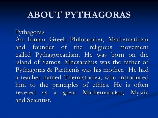 pythagoreans the father of music Pythagoras - secret teachings of all ages although best known for his pythagorean want music and videos with zero the father of pythagoras.
