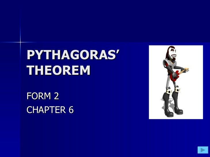 PYTHAGORAS' THEOREM FORM 2 CHAPTER 6