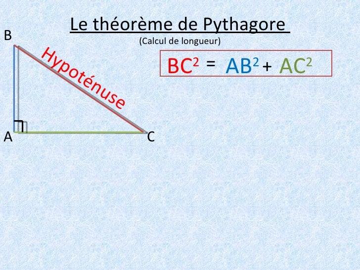 Le théorème de Pythagore  (Calcul de longueur) A B C BC 2   Hypoténuse AB 2   AC 2 = +