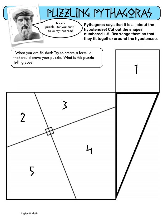 Pythagorean Puzzle – Pythagorean Theorem Proof Worksheet