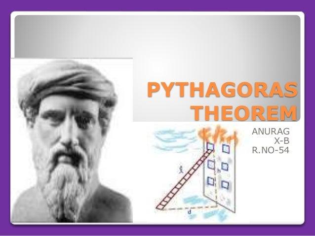 PYTHAGORAS THEOREM ANURAG X-B R.NO-54