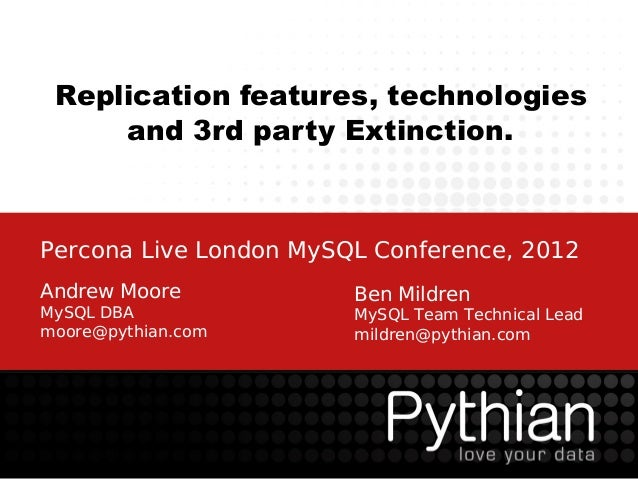 Replication features, technologies     and 3rd party Extinction.Percona Live London MySQL Conference, 2012Andrew Moore    ...