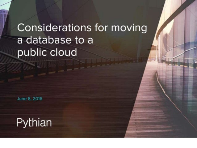 Considerations for Moving a Database to a Public Cloud