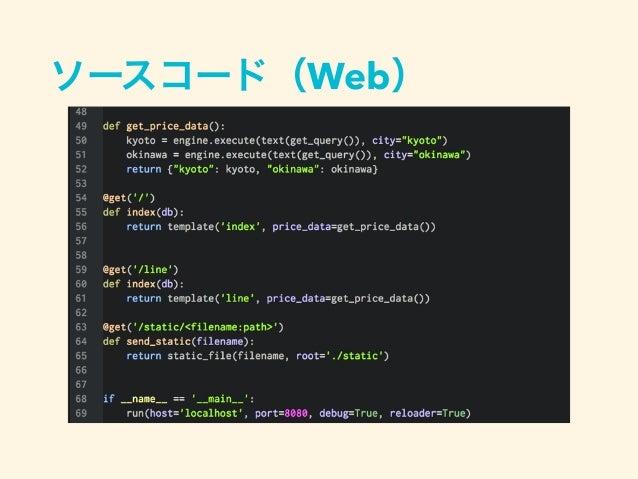 まとめ • Pythonでスクレイピングを行う場合、色々な アプローチがある。 • 標準のライブラリから、フレームワークまで 選択肢は沢山ある。 • 実際の要件に合わせて使用すれば良い。