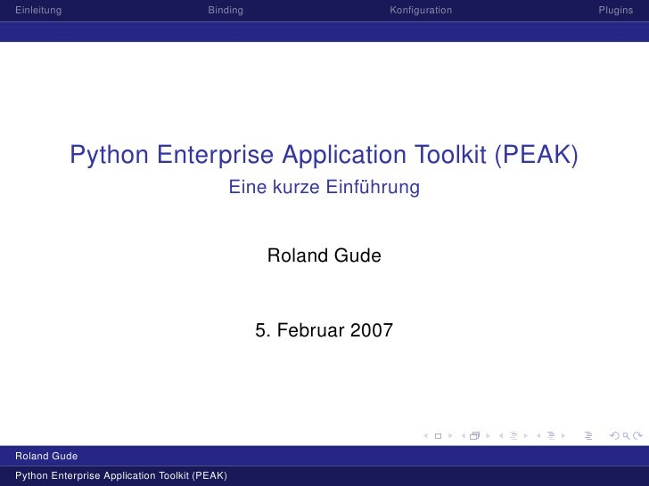 Einleitung                             Binding                   Konfiguration   Plugins                  Python Enterprise...