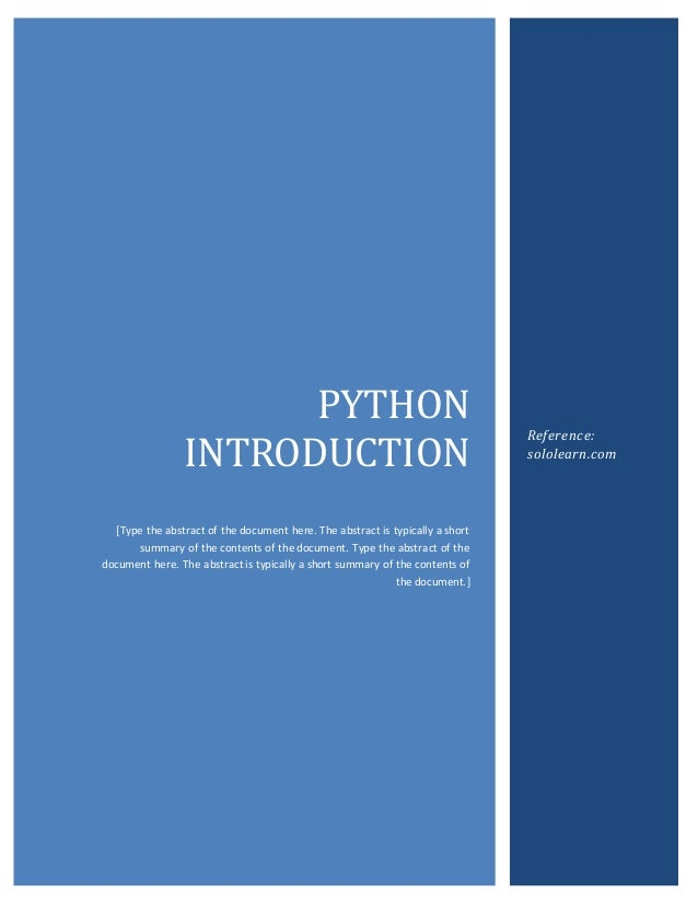 Introduction to Python - Running Notes