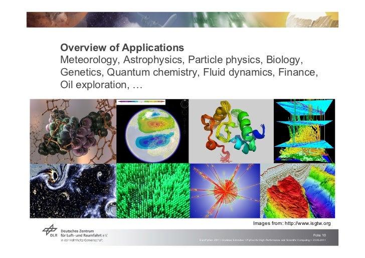 Overview of ApplicationsMeteorology, Astrophysics, Particle physics, Biology,Genetics, Quantum chemistry, Fluid dynamics, ...