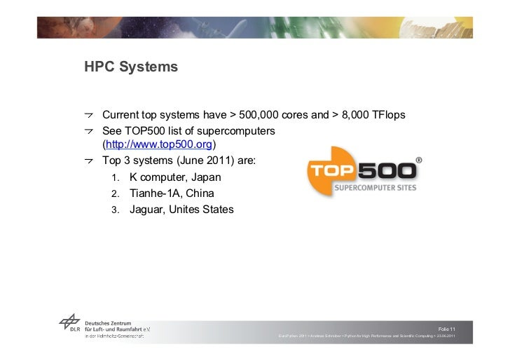 """HPC Systems!   """"Current top systems have > 500,000 cores and > 8,000 TFlops!   """"See TOP500 list of supercomputers    (http..."""