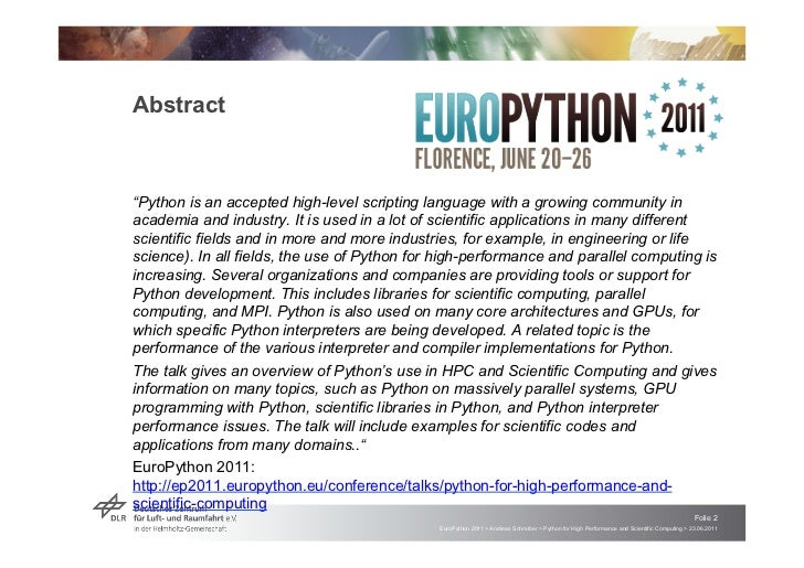 """Abstract""""Python is an accepted high-level scripting language with a growing community inacademia and industry. It is used ..."""