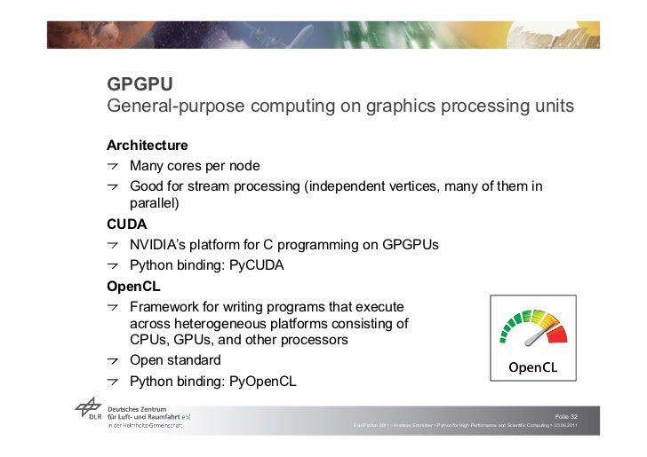 """GPGPUGeneral-purpose computing on graphics processing unitsArchitecture! """"Many cores per node! """"Good for stream processing..."""