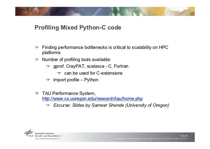 """Profiling Mixed Python-C code!   """"Finding performance bottlenecks is critical to scalability on HPC    platforms!   """"Numbe..."""