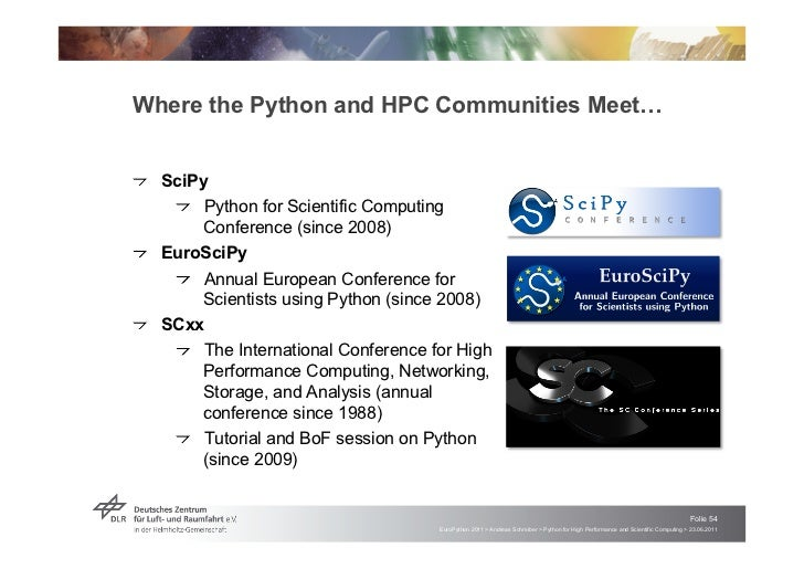 """Where the Python and HPC Communities Meet!!   """"SciPy     !   """"Python for Scientific Computing         Conference (since 20..."""
