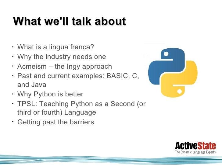 Python The Programmers Lingua Franca