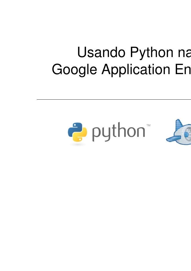 Usando Python naGoogle Application Engine