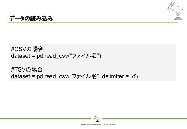 "Copyright Shiroyagi Corporation. All rights reserved. データの読み込み #CSVの場合 dataset = pd.read_csv(""ファイル名"") #TSVの場合 dataset = pd..."