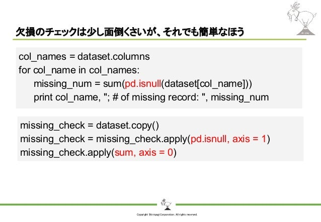Copyright Shiroyagi Corporation. All rights reserved. 欠損のチェックは少し面倒くさいが、それでも簡単なほう col_names = dataset.columns for col_name ...
