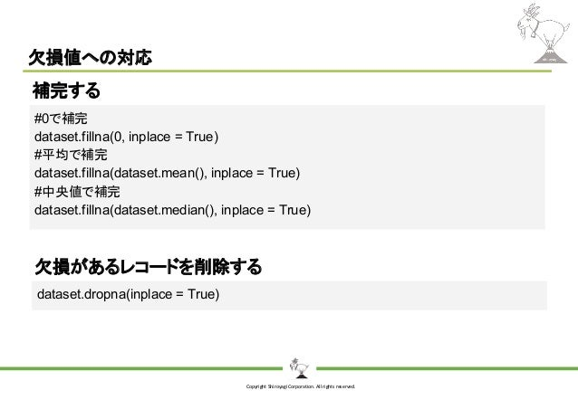 Copyright Shiroyagi Corporation. All rights reserved. 欠損値への対応 #0で補完 dataset.fillna(0, inplace = True) #平均で補完 dataset.filln...