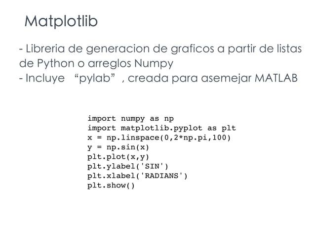 """Matplotlib - Libreria de generacion de graficos a partir de listas de Python o arreglos Numpy - Incluye """"pylab"""", creada pa..."""
