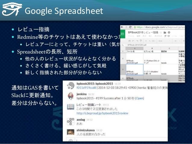 出版社への提出工程(2012)  1. 私: hg pull  2. 私: make shuwa  3. 私: tar zcf bpbook20141205.tgz shuwa  4. 私: cp bpbook20141205.tgz ~/Dr...