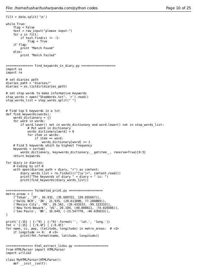 python codes