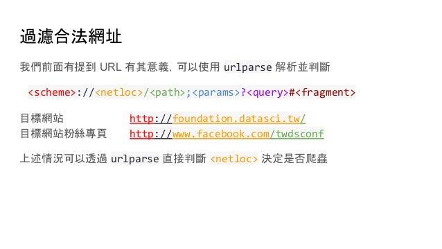 過濾合法網址 我們前面有提到 URL 有其意義,可以使用 urlparse 解析並判斷 <scheme>://<netloc>/<path>;<params>?<query>#<fragment> 目標網站 http://foundation....