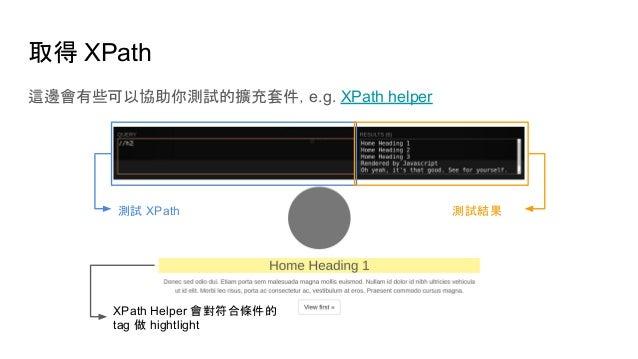 取得 XPath 這邊會有些可以協助你測試的擴充套件,e.g. XPath helper 測試 XPath 測試結果 XPath Helper 會對符合條件的 tag 做 hightlight