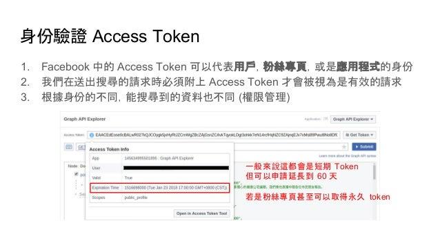身份驗證 Access Token 1. Facebook 中的 Access Token 可以代表用戶,粉絲專頁,或是應用程式的身份 2. 我們在送出搜尋的請求時必須附上 Access Token 才會被視為是有效的請求 3. 根據身份的不同...